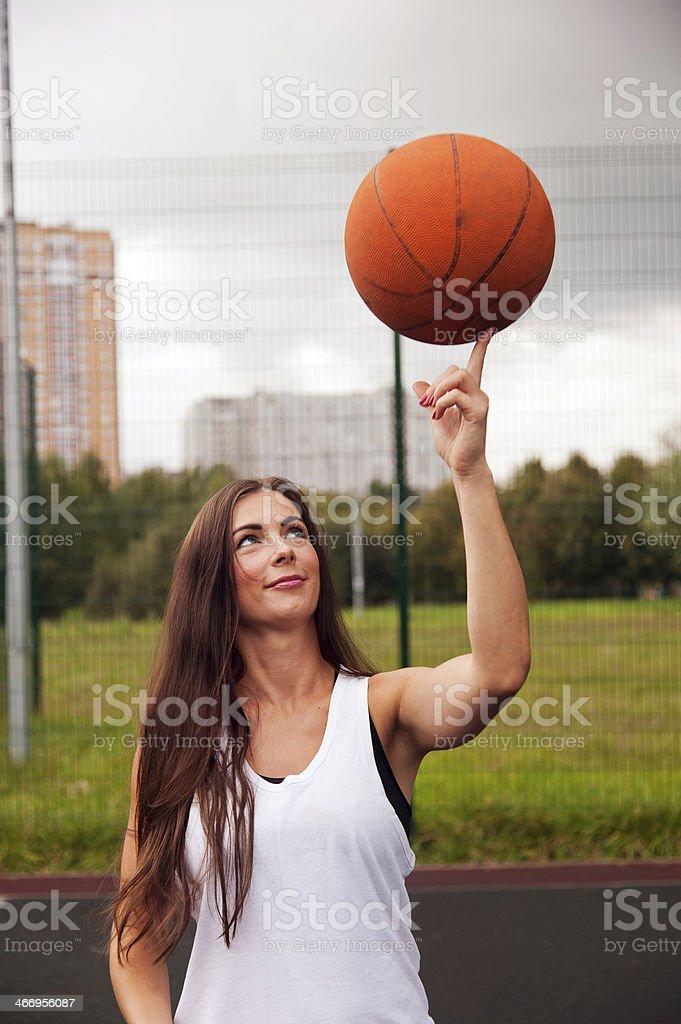 Sexy Woman Throw Basketball stock photo
