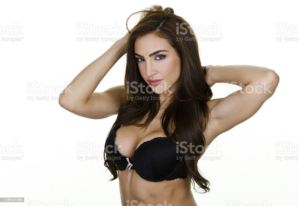 Sexy woman wearing a bra royalty-free stock photo