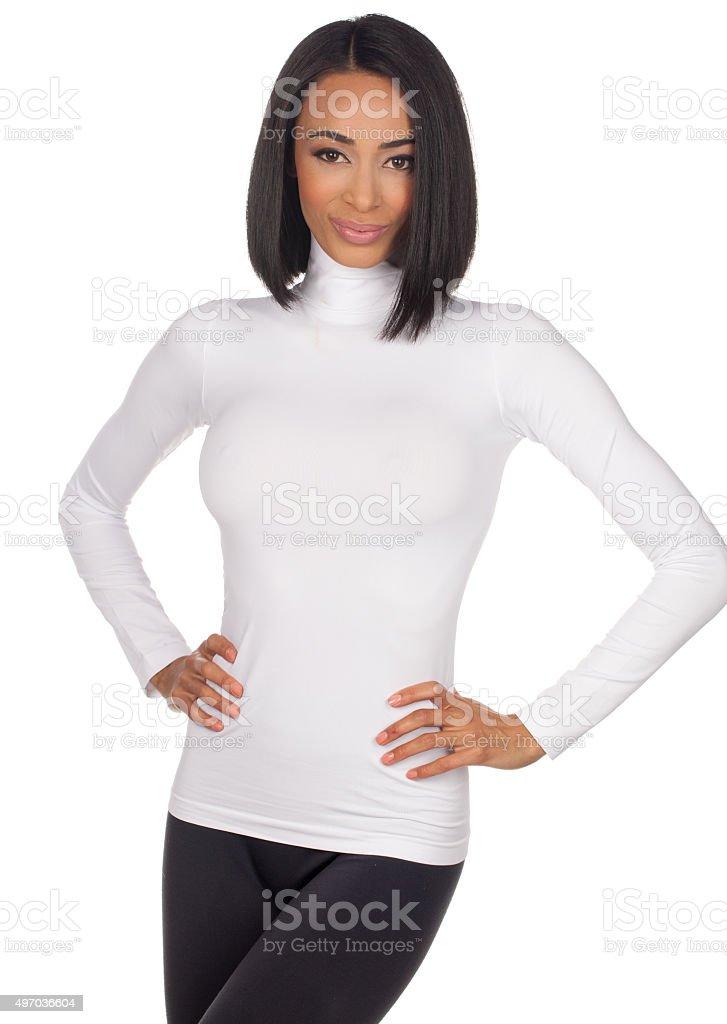 Sexy Woman wearing a White Turtleneck T-shirt stock photo