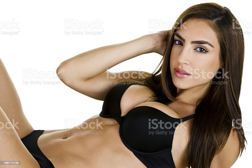 Sexy woman wearing lingerie stock photo