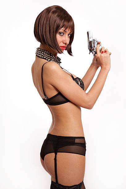 Girls nude holding guns-7441