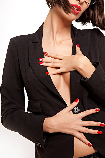 Woman In Only A Business Suit Jacket Stock Photo - Image