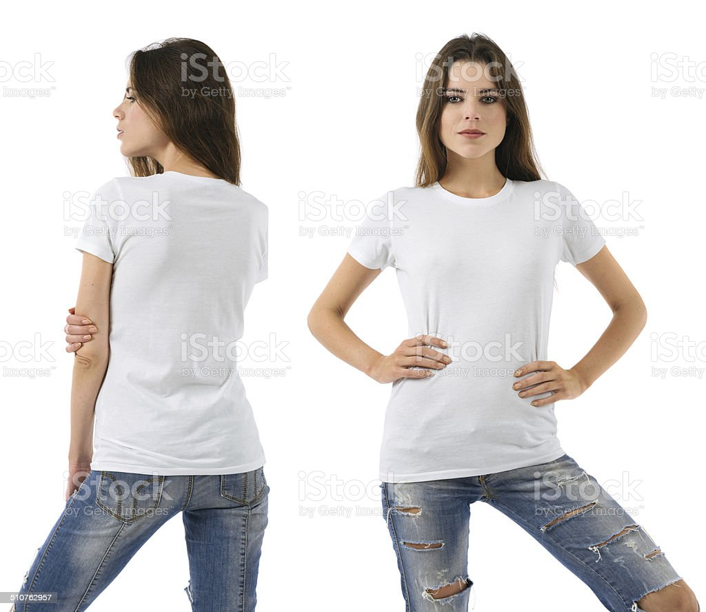 Sexy woman with blank white shirt and jeans stock photo