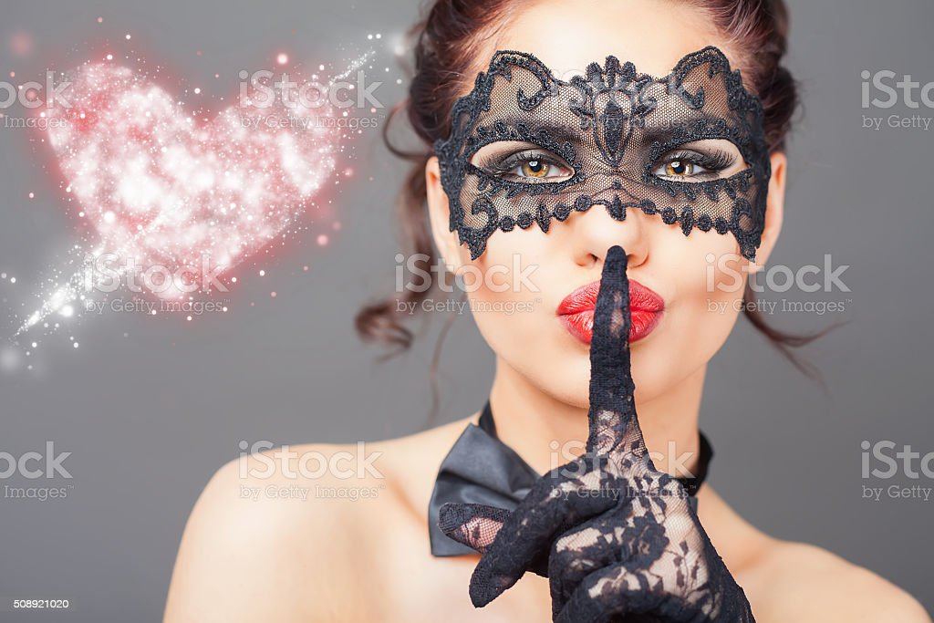 Sexy woman with carnival mask stock photo