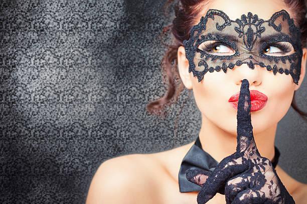 セクシーな女性、カーニバルマスク ストックフォト