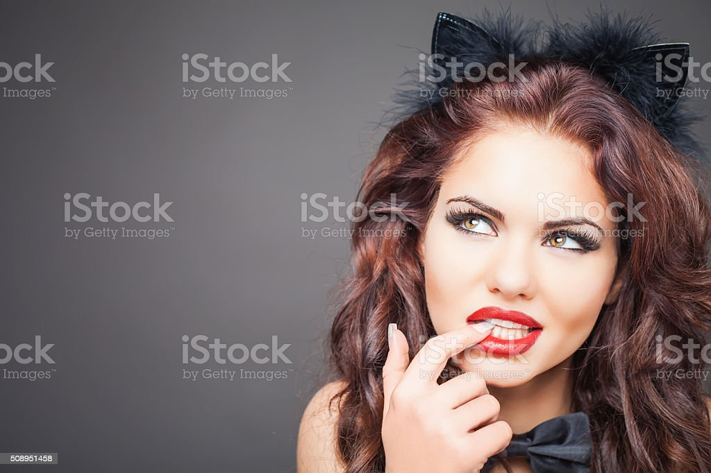 Sexy woman with cat carnival mask. Ears stock photo
