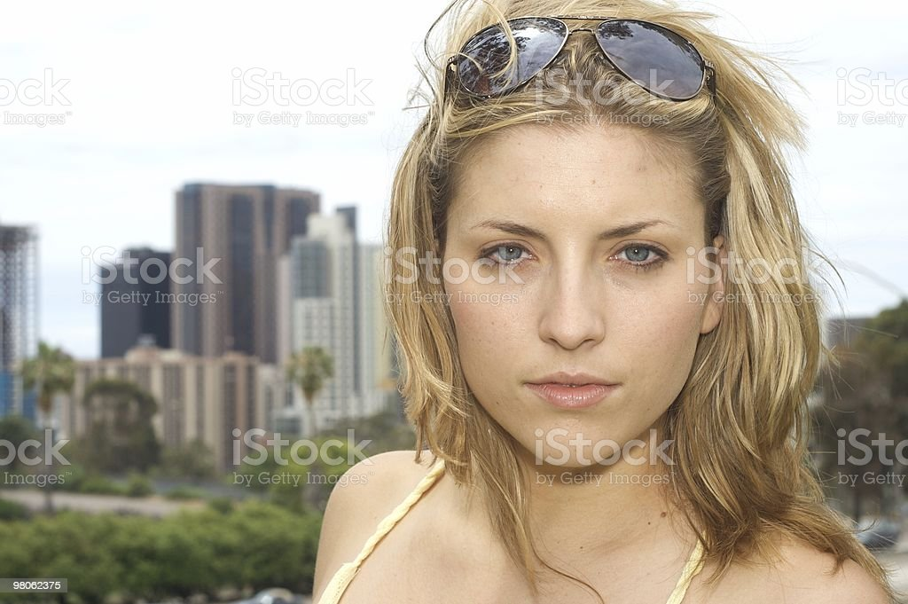 Sexy Woman with City Backdrop royalty-free stock photo