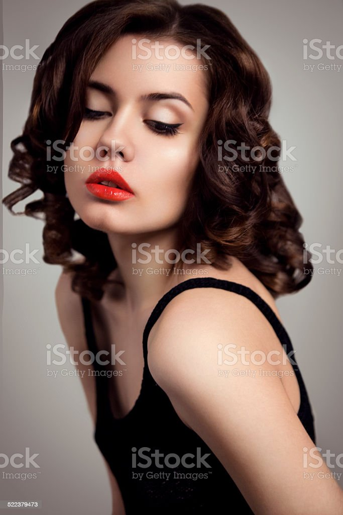 Royalty Free Portrait Of Sexy Brunette Woman Short Black Hair Red