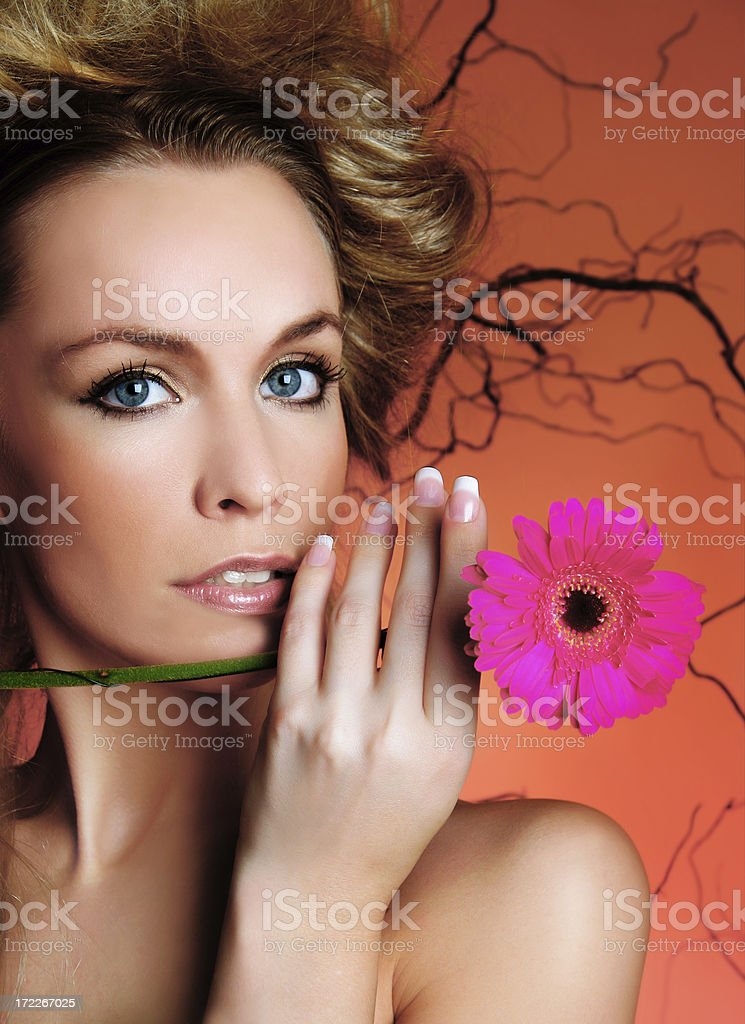 sexy woman with flower royalty-free stock photo