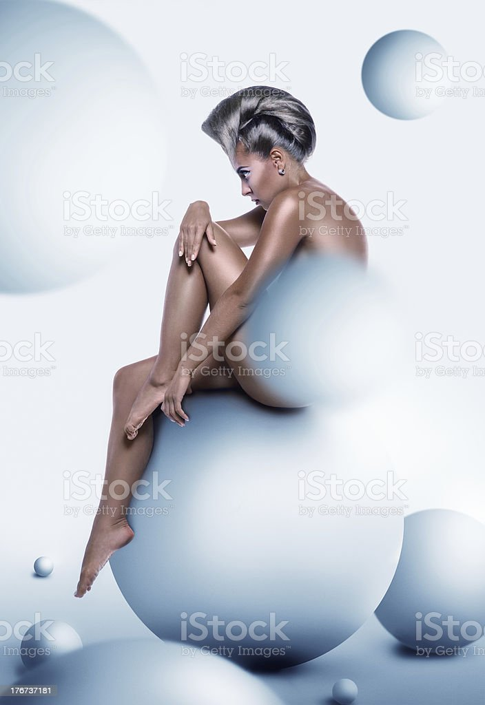 Sexy woman with unusuall hairstyle royalty-free stock photo