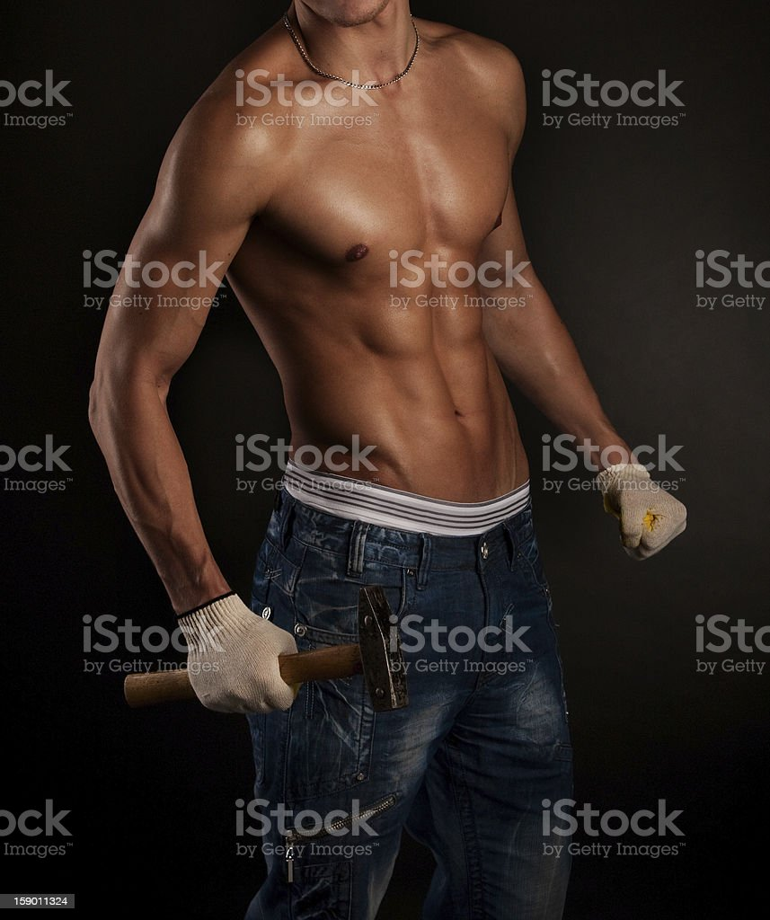 Sexy worker torso royalty-free stock photo