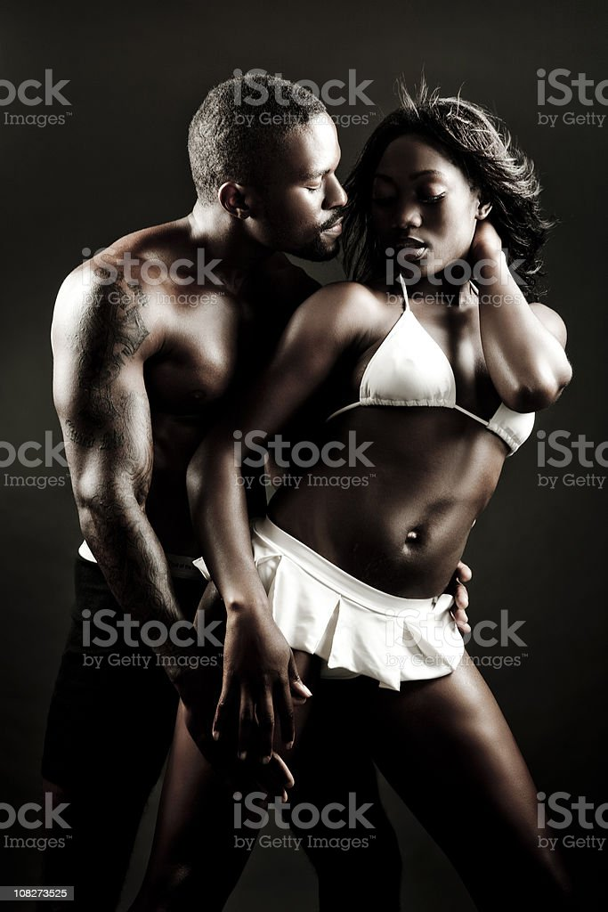 Sexy young African American couple stock photo