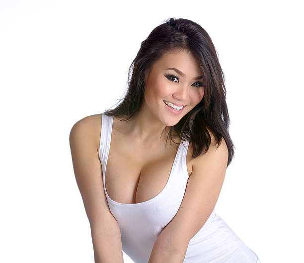 Sexy Young Asian Woman in White Tank Top stock photo