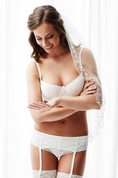d03cbd80474 27 Sexy Bride In White Stockings And Suspenders Stock Photos ...