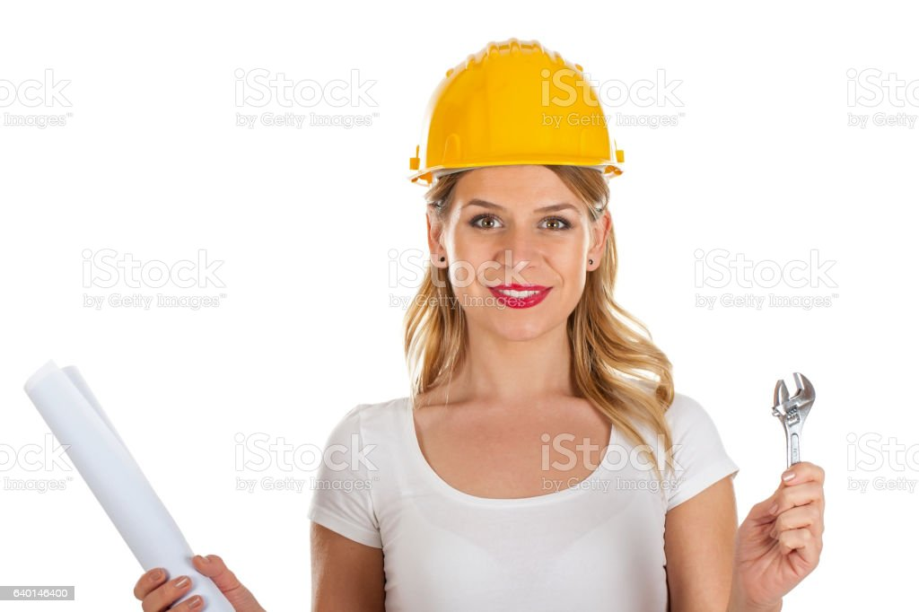 Sexy young female engineer stock photo