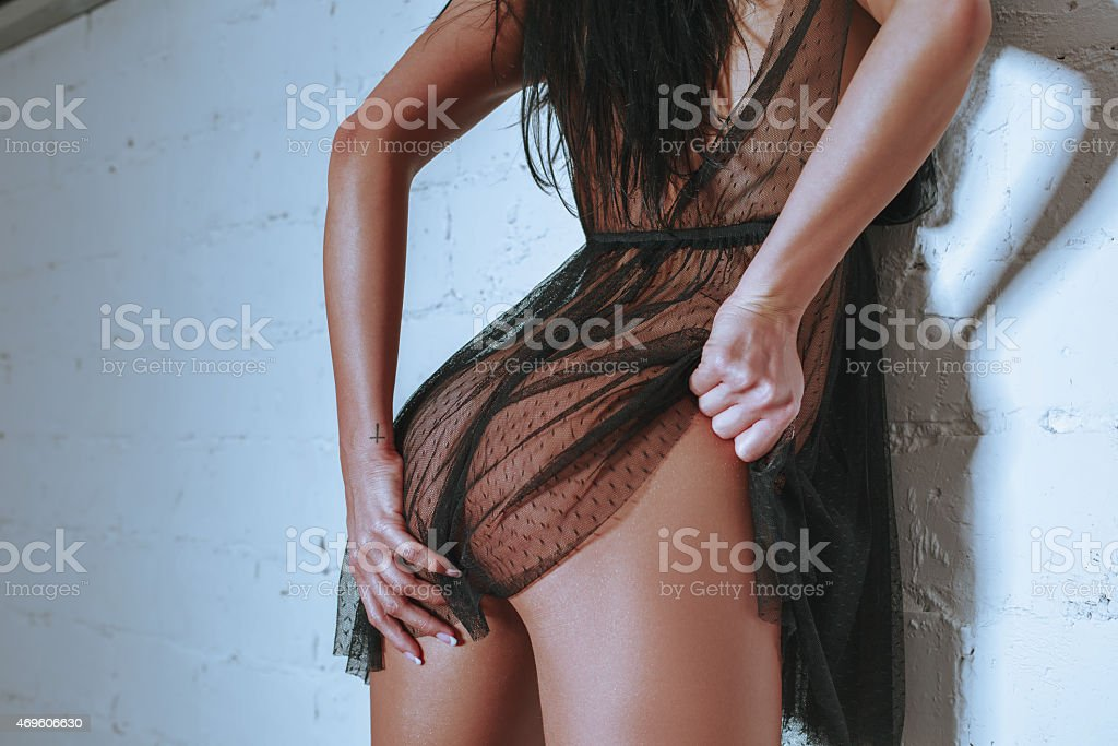 sexy young girl, shows buttocks stock photo