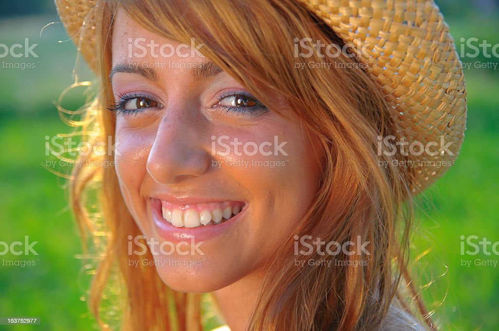 Sexy Young Girl Smiling On Sunset Green Background Royalty Free Stock Photo