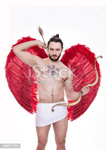 Sexy Young Man With Big Red Wings Cupid Valentine Angel ...