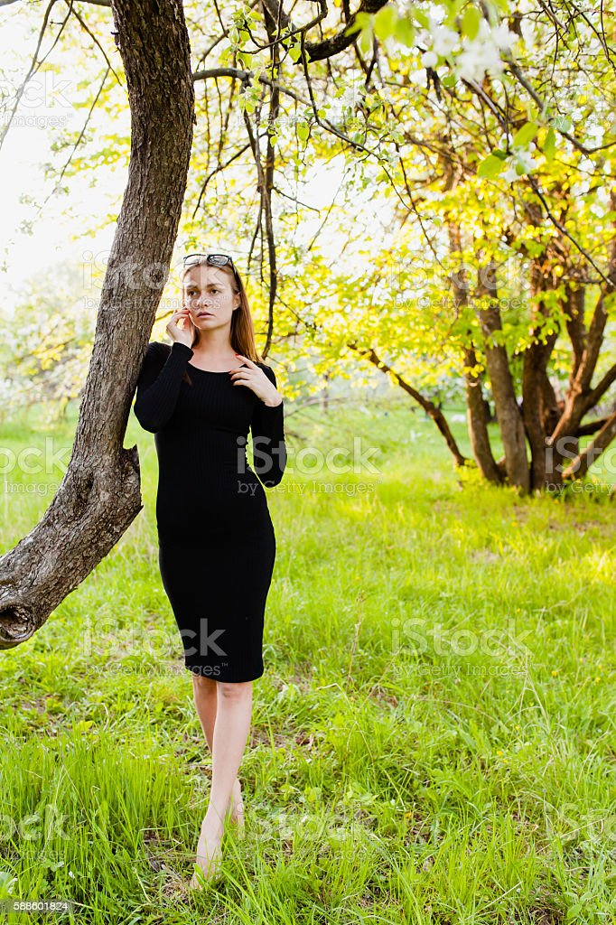 Sexy young model posing in blossoming apple orchard stock photo