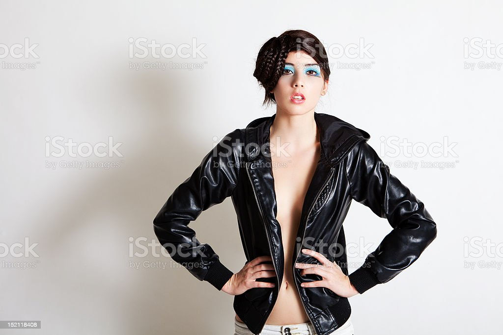 Sexy Young Woman In A Jacket With No Shirt stock photo 152118408 ...