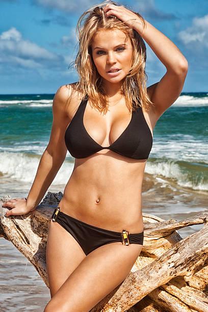 Sexy Young Woman in Black Bikini Posing with Driftwood stock photo
