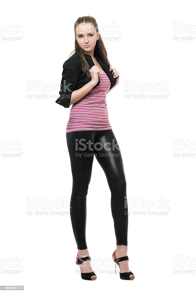 Sexy young woman in black leggings royalty-free stock photo