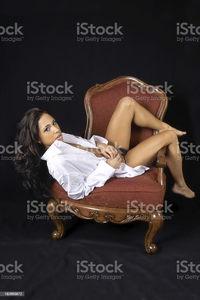 Sexy Young Woman in Mens Shirt royalty-free stock photo