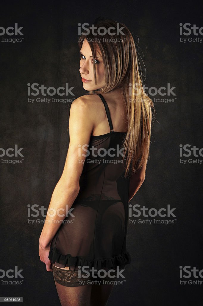 Sexy young woman in see through chiffon and stockings royalty-free stock photo