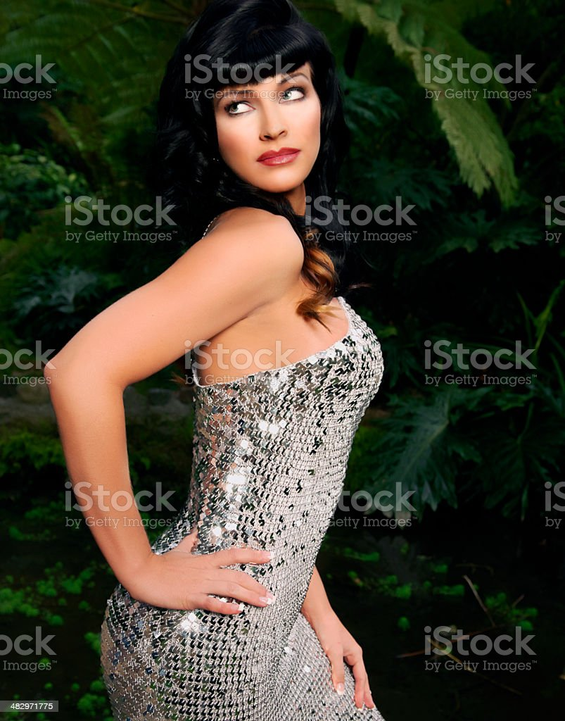 Sexy Young Woman in Sequined Gown stock photo