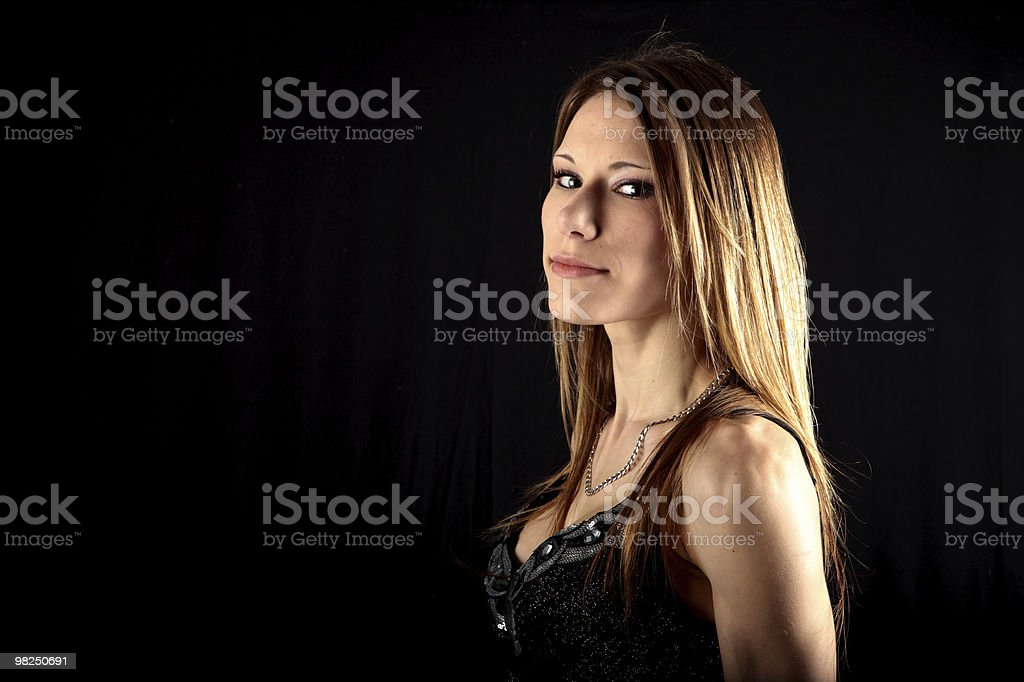 Sexy young woman in smart evening dress royalty-free stock photo