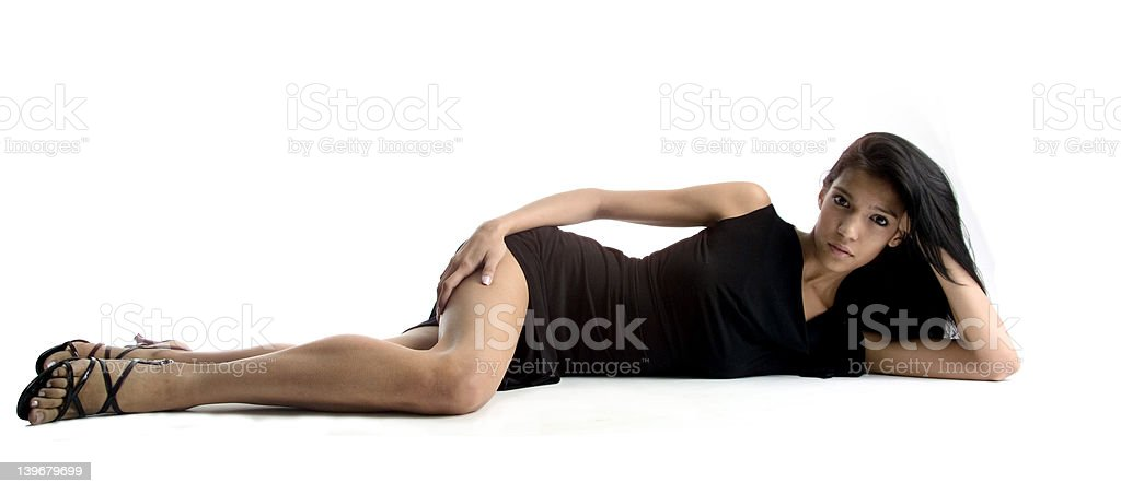 Sexy young woman lying on a white background royalty-free stock photo