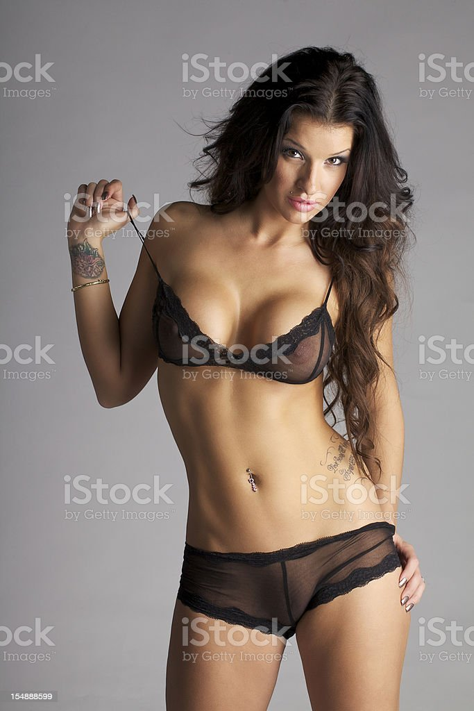 Sexy young woman wearing Bra and Panties stock photo