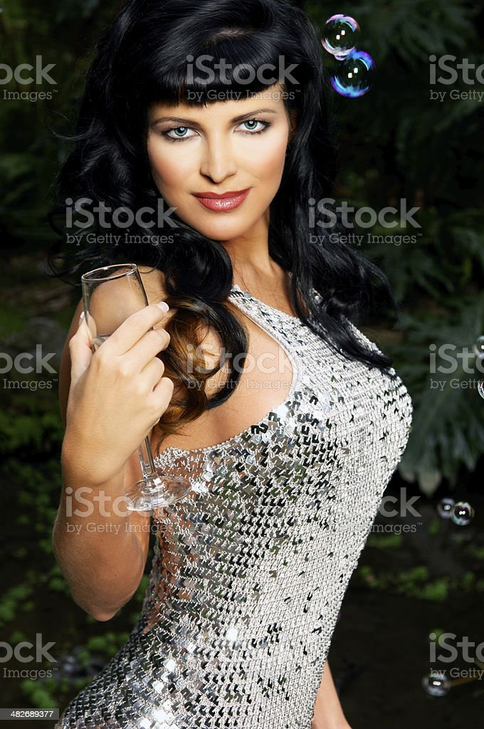 Sexy Young Woman with Champagne stock photo