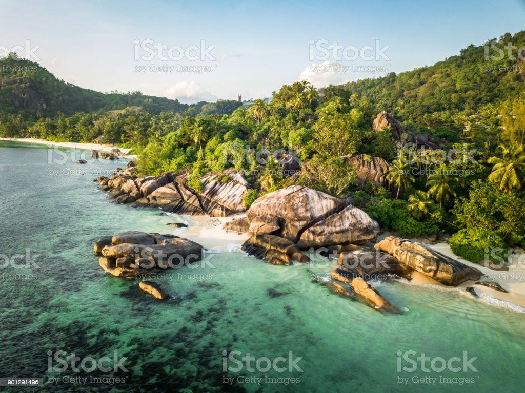 Seychelles Aerial View Anse Takamaka Mahe Island stock photo