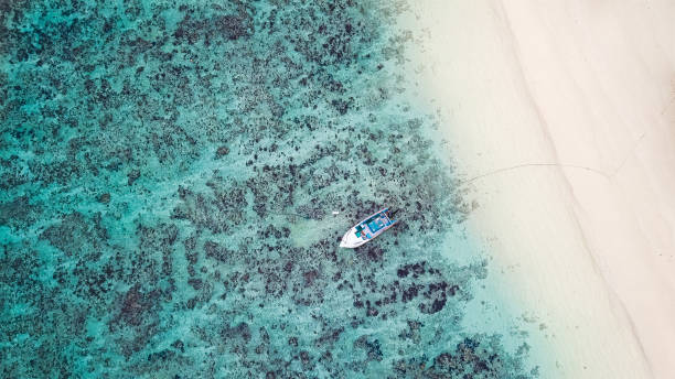 Seychelles Beach Lagoon from above stock photo