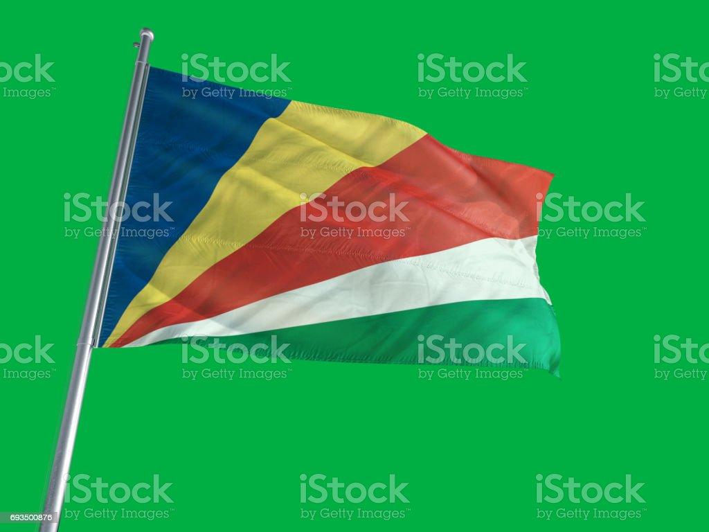 Seychelles Flag on a Green Screen stock photo