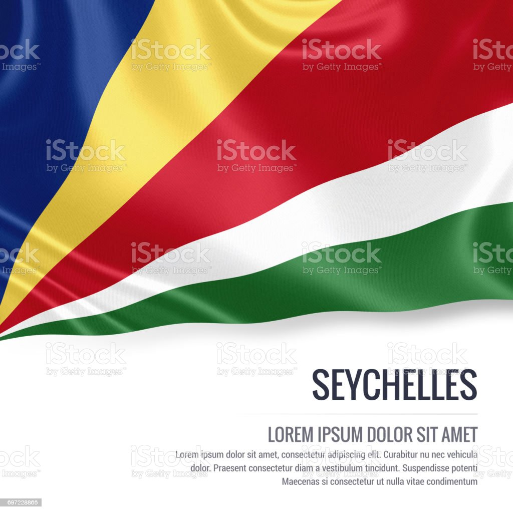 Seychelles flag. Silky flag of Seychelles waving on an isolated white background with the white text area for your advert message. 3D rendering. stock photo
