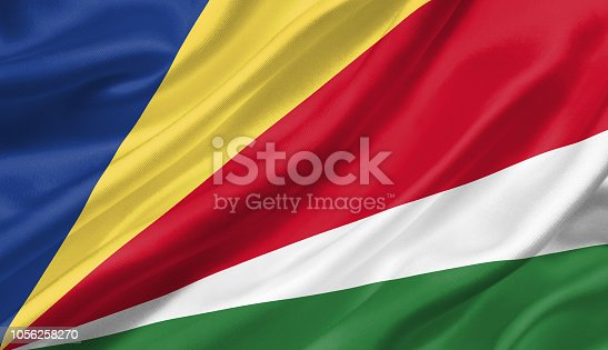 1056280906 istock photo Seychelles flag waving with the wind, 3D illustration. 1056258270