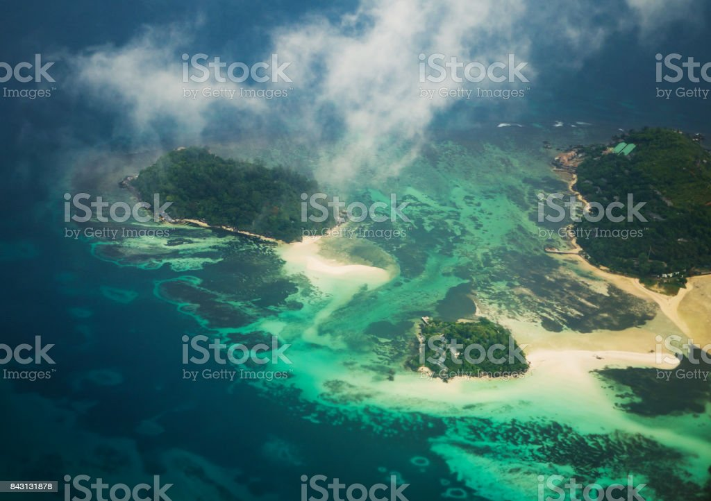 Seychelles from the airplane stock photo