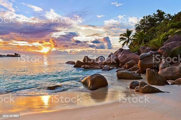Photo of Seychelles tropical beach at sunset