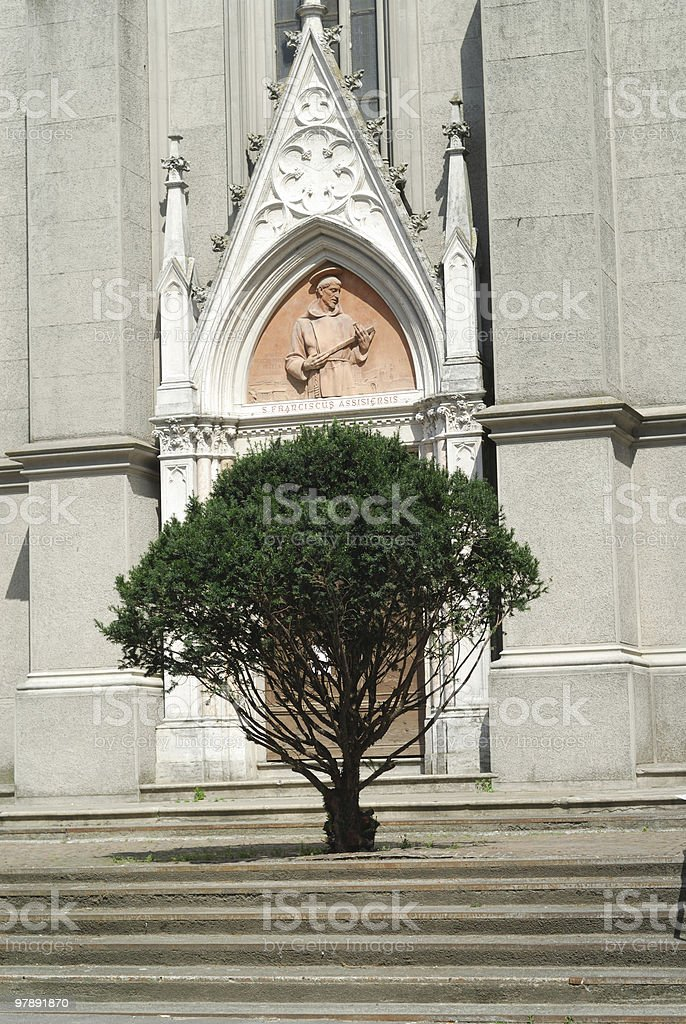 Sezzadio (Italy), Detail of the church facade with tree royalty-free stock photo