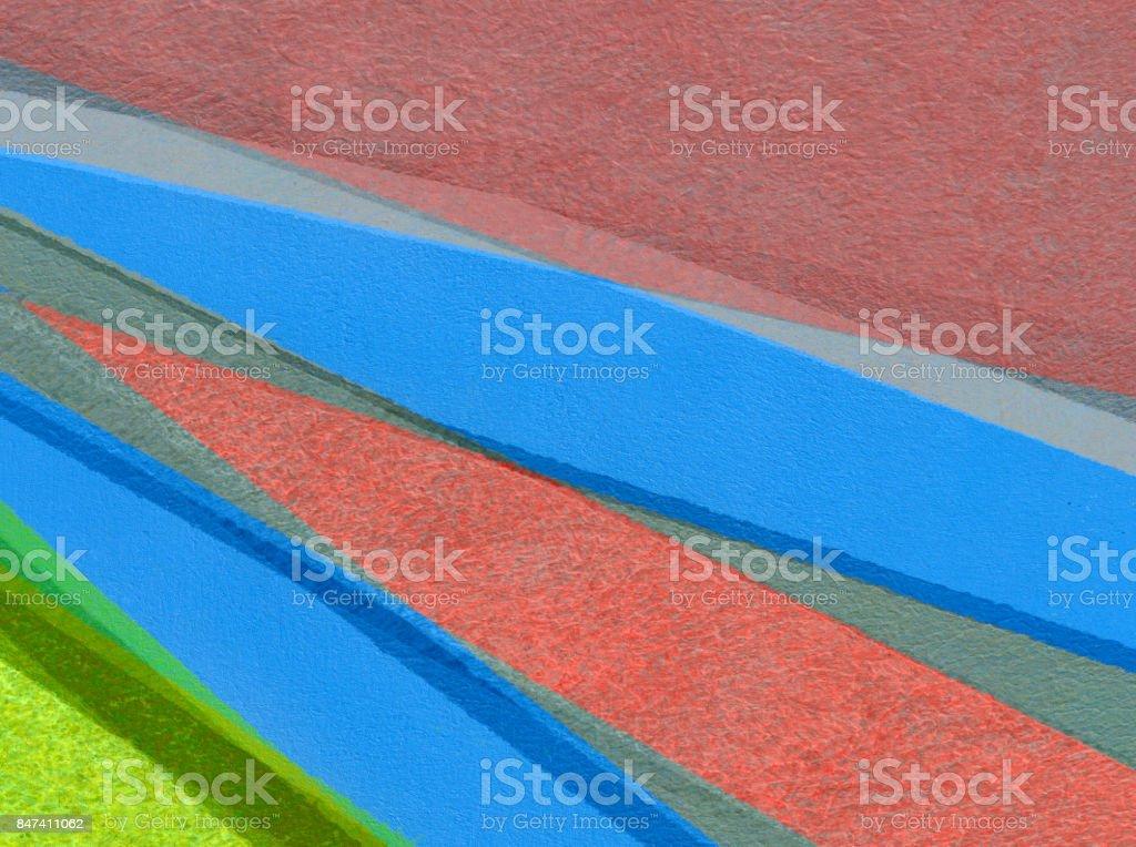 Sfondo astratto con colori acrilici nei toni del blu, giallo e rosso stock photo