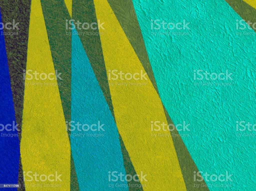 Sfondo astratto con colori acrilici nei toni del blu, giallo e verde stock photo