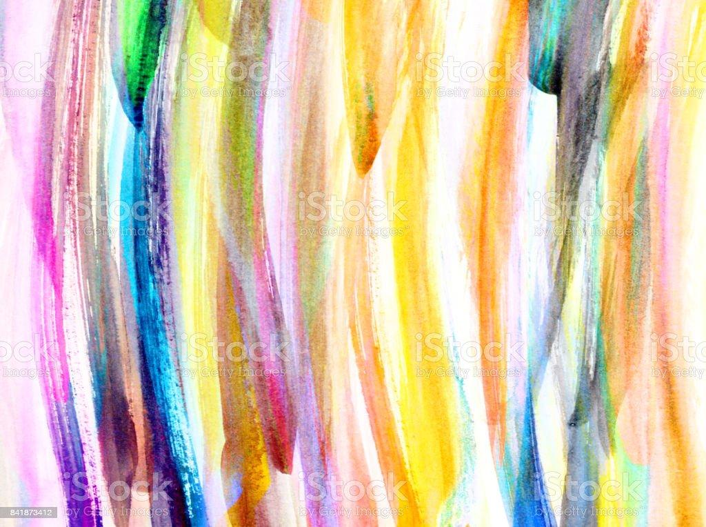 Sfondo con pennellate di colore nei toni del blu, giallo e rosa stock photo