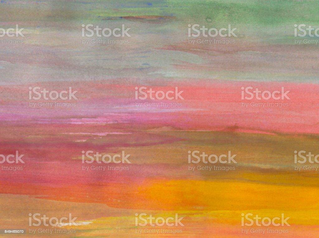 Sfondo con pennellate di colore nei toni del verde, rosa e giallo zafferano stock photo