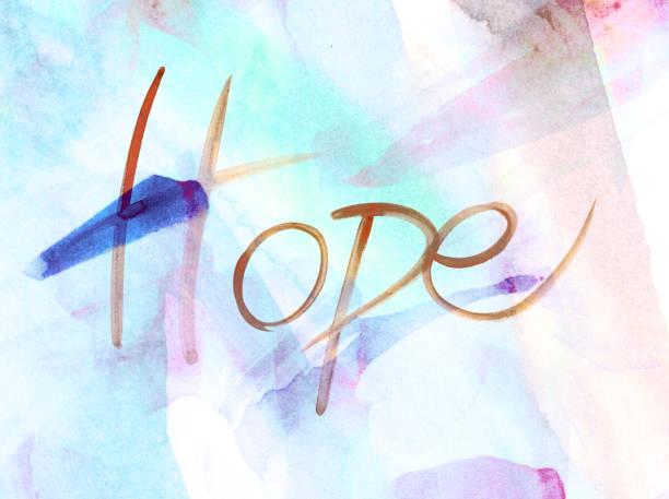 """Sfondo con scritta """"Hope"""" e pennellate acquerello nei toni del blu, marrone e rosa stock photo"""