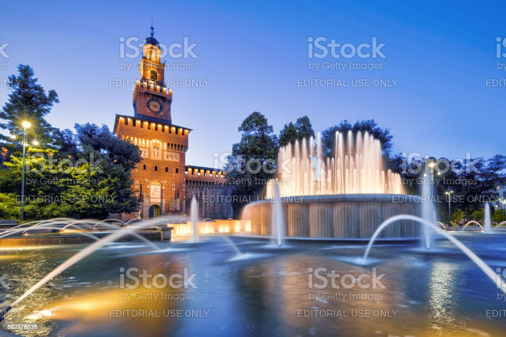 Sforza Castel at night in Milan, Italy stock photo