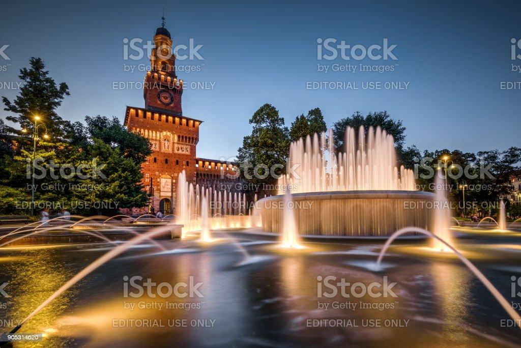 Sforza Castel at night in Milan, Italy stock photo