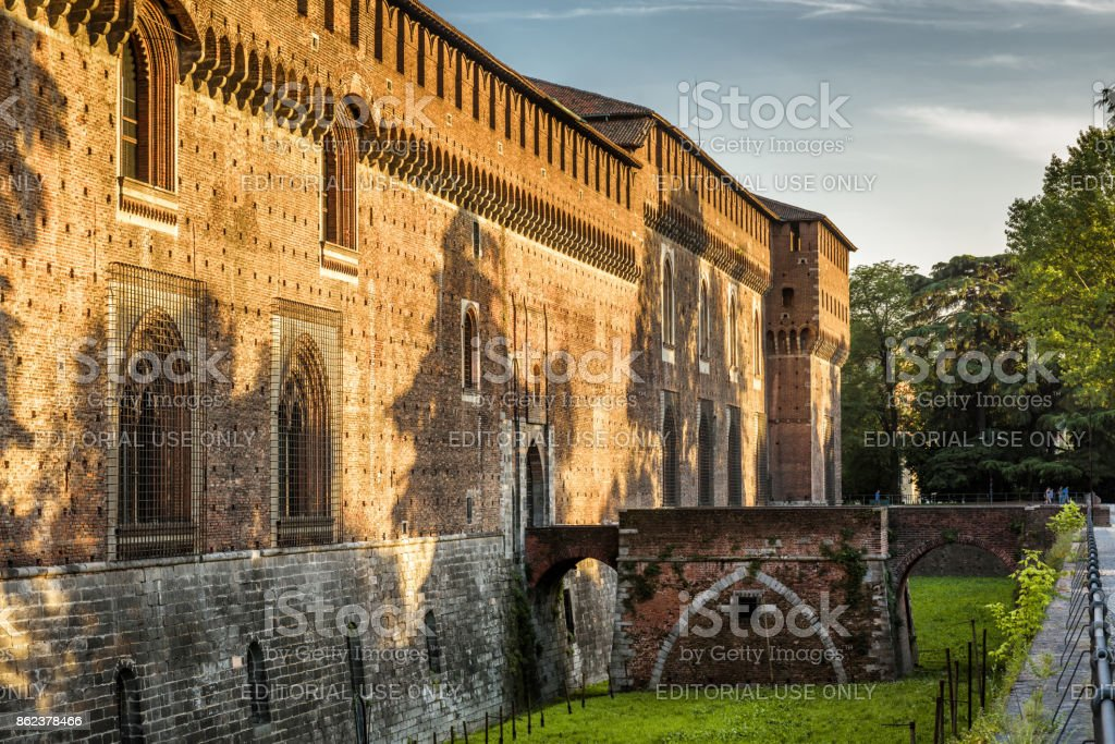 Sforza Castel in Milan, Italy stock photo