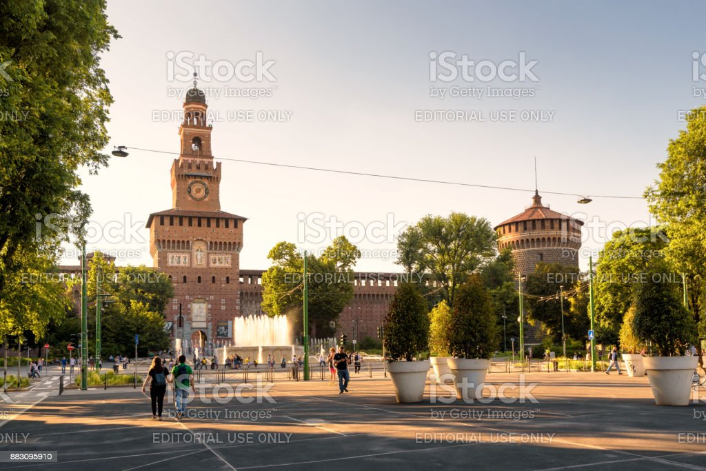 Sforza Castel in Milan, Italy stock photo